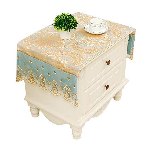 Topwon Bedside Table Cloth Dust Proof Cover for Bedside Table European Style Print Bedside Table Cloth Mat (Gold)