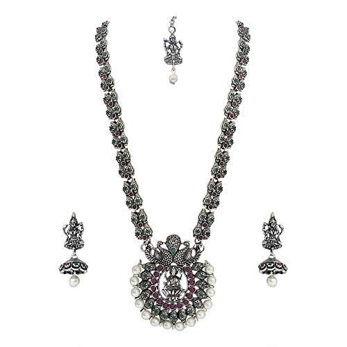 Matushri Art Brass and Ruby Jewellery Set for Women & Girls (Silver)