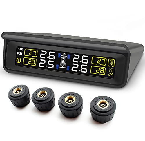 Blueskysea Sistema de Control de Presión de Neumáticos para Coche, TPMS Herramienta Inalámbrica de Presión de Neumáticos con LCD Pnatalla Grande + 4 Sensores Externos de Energía Solar (T86BB-WF)