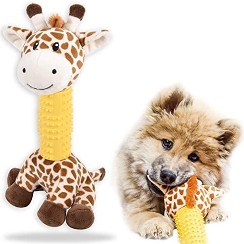 ne&no® Hunde Kuscheltier mit Gummi zum Kauen I Hundespielzeug I Kauspielzeug für Hunde I Quietschspielzeug Hund I Dog Toy I Spielzeug Hund I Hunde Zubehör (Giraffe)
