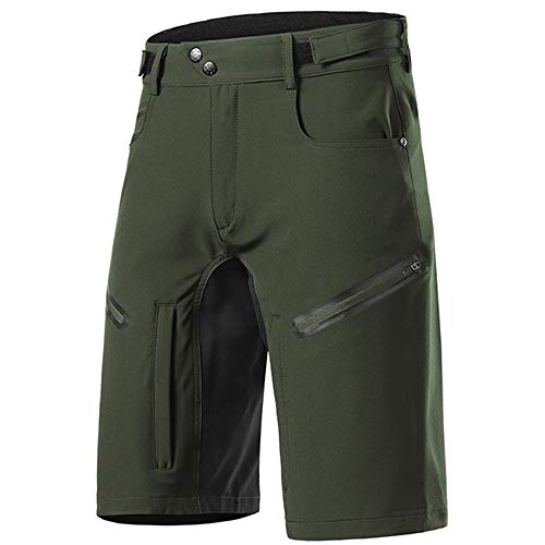 Loose Fit Cycling Shorts Men, MTB Mountain Bike Shorts Waterproof Outdoor Sports Shorts Breathable Quick-Drying with Zipper Pockets,Green,M