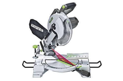 Genesis GMS1015LC 15-Amp 10-Inch Compound Miter Saw with Laser Guide and 9...