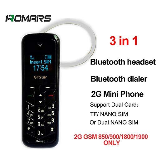 GT Star BM50 3 in 1 Micro-Mini-Telefon Kleinstes Handy der Welt, simlockfrei, Bluetooth, FM-Radio, Micro-Sim, 18 g 2G GSM (Schwarz)