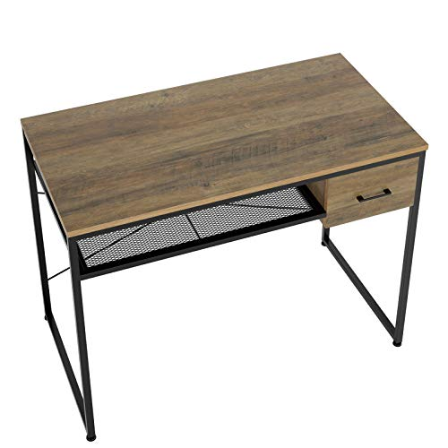 """HOMECHO Writing Computer Desk 41.7"""", Study Writing Table with Storage Shelf and Drawer, Simple Style PC Desk for Home Office, Easy Assemble, Rustic Brown"""