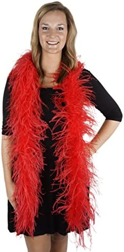 ZUCKER 6 Flapper Ostrich Boa Red Feather Halloween Cosplay Costume Accessory product image