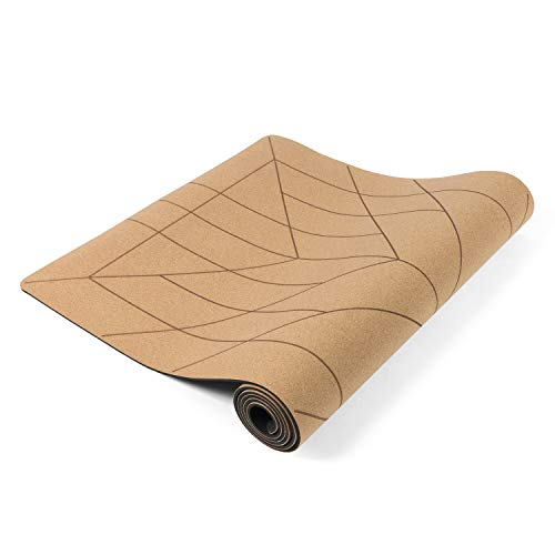 Lotuscrafts Esterilla Yoga Corcho Cork - Superficie Antideslizante a Prueba de Sudor - Materiales 100% Reciclables - Esterilla de Yoga Antideslizante de Corcho y TPE Ideal para Hot Yoga