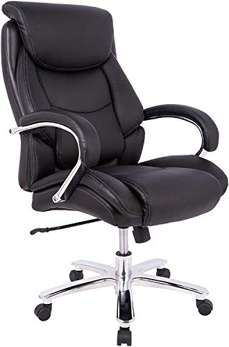 Office Chair, Big and Tall Executive Computer Desk Chair, Thick Padding for Comfort and Ergonomic Office Chair Design for Lumbar Support, Swivel Leather Office Chairs with Armrest for Home Office