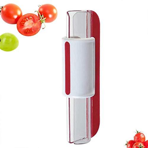 Cortador de frutas, Cortador de uvas, Tomates Uvas de Vino Cortador de cerezas, Cortador de Tomates de cereza, Utensilio de Cocina, Herramienta de Cocina, rojo, 20 x 7,5 x 7 cm