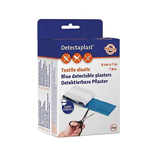Detectaplast Pflaster wasserfest Elastic, blaue Wundpflaster Rolle für den Umgang mit Lebensmitteln, detektierbare Pflaster für Erste Hilfe Sets in der Gastronomie, 6 cm x 1 m, 1 Stück