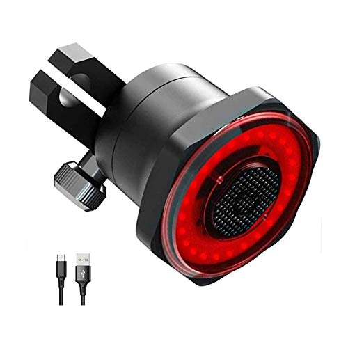 XTZJ Luz de cola de bicicleta inteligente LED recargable USB, luz de bicicleta trasera del freno ultra brillante, detección de luz de encendido / apagado automático, IPX6 impermeable con 7 modos de lu