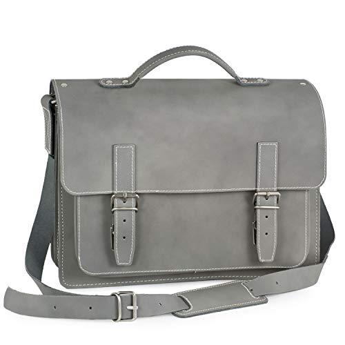 Mittel-Große Aktentasche Lehrertasche Größe M aus Leder, Grau, Hamosons 605