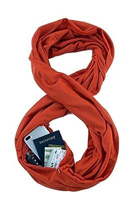 WAYPOINTGOODSTravelScarf//InfinityScarfwithSecretHiddenZipperPocket (Pumpkin) by WAYPOINT GOODS