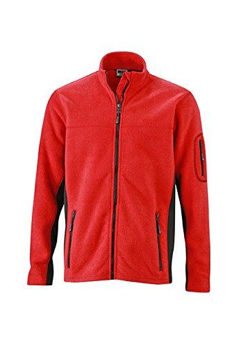 James & Nicholson Herren Workwear Fleece Jacket Jacke, Rot (Red/Black), Large