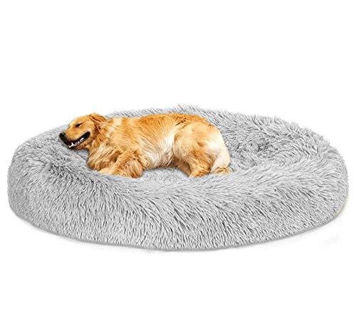 Loir Fluffy hundebett für große und extra große Hunde, 120 cm, Hellgrau, Donut Weiches Plüsch Rundes hundekissen, Waschbar, Tiefschlaf