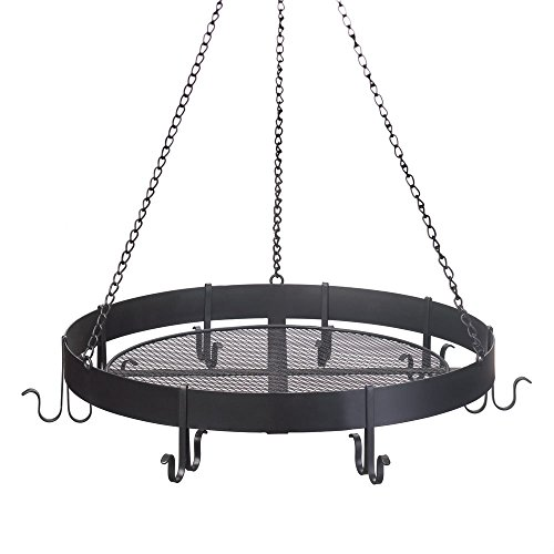 Smart Living Company Hanging Pans, Cast Iron Rack Black Antique Circular Pot Holder