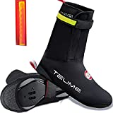TEUME Bike Shoe Covers Over Shoes Cycling Bicycle Overshoes Winter Proof Warmers Water Resistance Warmer Windproof Hook and Loop Fastener with Safety Light Cold Weather Winter Men Women (XXL)