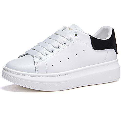 Damen Sneakers, Modisch, Leder, Plattform, Sneakers, Schnürschuhe, Schwarz - Schwarz  - Größe: 37 EU