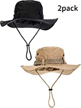 Boao 2 Pieces Safari Hat Wide Brim Fishing Cap Foldable Boonie Hat Double-Sided Outdoor Sun Hat for Men and Women (Black, Khaki)
