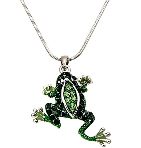 DianaL Boutique Adorable Green Frog Charm Pendant Necklace with 18