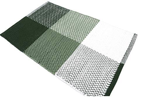 Madrid Tappeto Cotone Lavabile Bagno Cucina Antiscivolo 55x110 Vari Colori Lavabile in Lavatrice 30° (Green, 55x110cm)