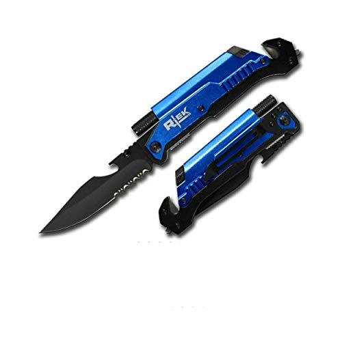 9' Tactical Spring Assisted Red Survival 7 in 1 Rescue Pocket Knife LED Light Fire Starter Blade Sharpener Bottle Opener Glass Breaker Belt Cutter (Blue)