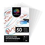 OfficeTree 50 x Lamina Acetato Transparente A4 - Transparencias para Retroproyector - Acetatos A4 para Impresora Láser Copiadora o Retroproyector