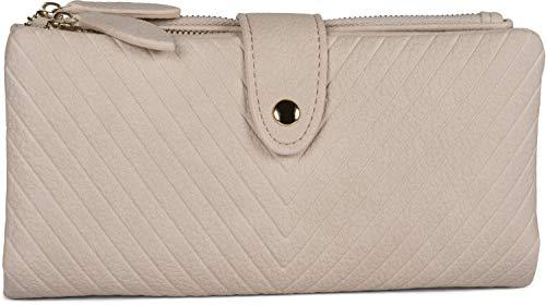 styleBREAKER Damen Portemonnaie mit V-Förmig geprägter Struktur, Druckknopf, Reißverschluss Geldbörse 02040124, Farbe:Creme-Beige