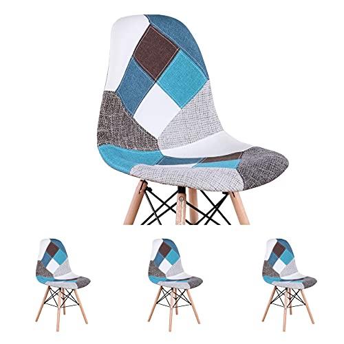 4 juegos de sillas de comedor se pueden utilizar para la oficina y el estudio, diseño de patchwork tapizado sin brazos silla de madera de haya (azul)