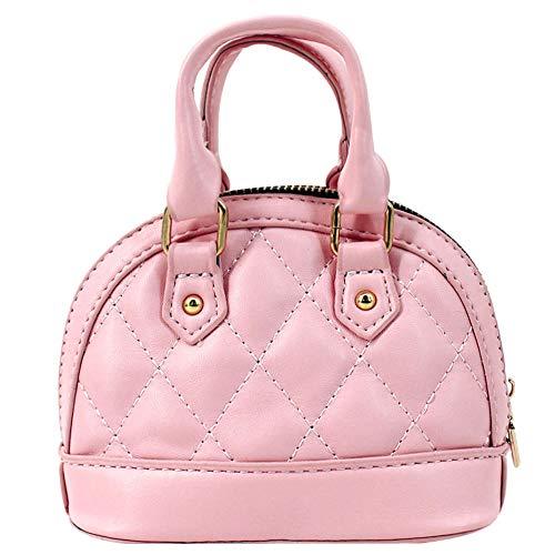 Aisa Girls Mini Dome Satchel Purse Cute Coin Purse Chain Crossbody Tote Handbag (0738 Pink)