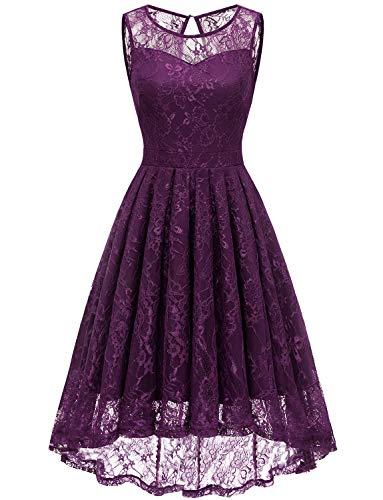 Gardenwed Damen Kleid Retro Ärmellos Kurz Brautjungfern Kleid Spitzenkleid Abendkleider CocktailKleid Partykleid Grape XL