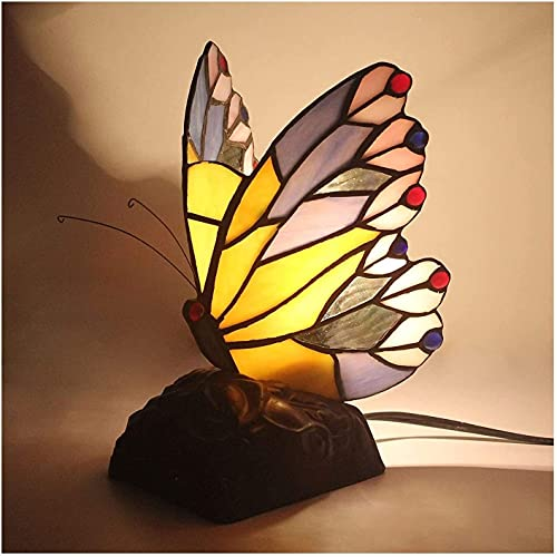YHQKJ Lámpara de Mesa Tiffany, lámpara de Mesa de Mariposa Creativa Pastoral de Manchas, luz Nocturna for niños for Dormitorio.