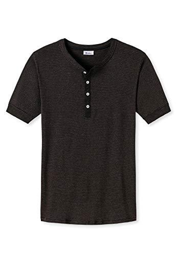 Schiesser Revival Herren Henley Shirt - 1/2 Arm, Unterhemd, Karl Heinz - braun L (Large)