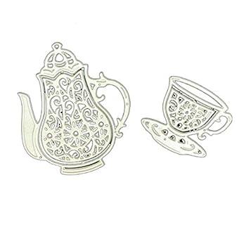 DEOLBA Afternoon Tea Drinkware Teapot Teacup Cutting Dies Scrapbooking Tableware Cut Template Die Cards Paper DIY,Silver