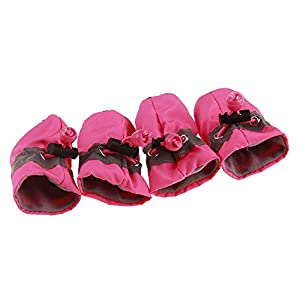 GabeFish Slightly Water-Resistance Anti Slip Dog Socks Shoes Adjustable Drawstring Boot Paw Protectors for Small Medium Pets Cats Pink X-Small