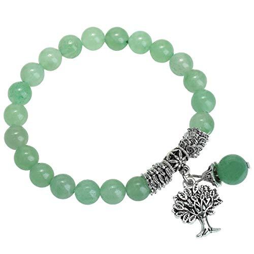 KYEYGWO 8mm Perlen Baum des Lebens Armband,Handgefertigt Natürlicher Edelstein Chakra-Heilung Kristall Elastisches Armband für Frauen