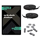 MAXX laces Cordones elásticos y planos, tensión ajustable para no tener que atar los zapatos, fáciles de usar, compatibles con todos los zapatos (Schwarz)