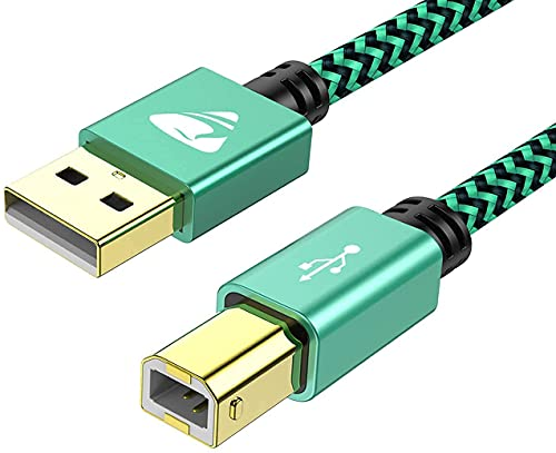5M USB Printer Cable, USB 2.0 Type A Male to B Male, Nylon Braided Scanner Cable Compatible with HP, Dell, Lexmark, Xerox, Samsung and More