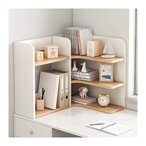 Regał 3 Poziom Desktop Regały Drewno Desktop Organizer Freestanding Regałówka Bliscase Office Kuchnia Półka narożna Jednostka Półka, Biała + Kolor Półka Bliski