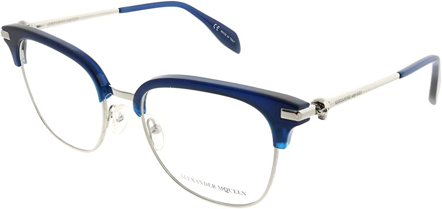 Alexander McQueen Iconic AM0152O 004 bluee Silver Metal Square Eyeglasses 53mm