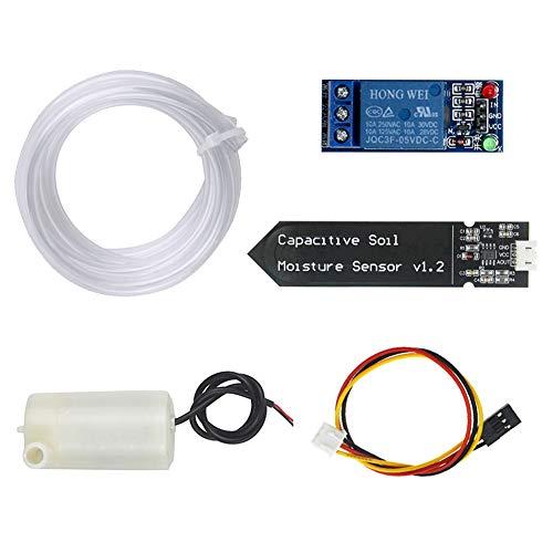 WayinTop Automatische Bewässerung DIY Kit Bewässerungssystem mit Tutorial, Bodenfeuchtesensor + 1 Kanal 5 V Relais Modul + Mini Wasserpumpe + 1M PVC Schlauch für Arduino