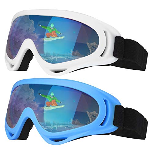 Dapaser Ski Goggles, 2 Pack Snowboard Goggles for Men Women Youth Kids Boys Girls, Anti Fog UV Protection Motorcycle Goggles, Snow Goggle Winter Skiing Outdoor Sport Goggles
