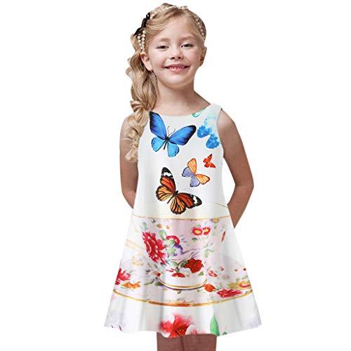 K-youth Ropa para Niña 4 a 9 años, Vestido Playa Niña Verano Bohemia Vestidos Sin Mangas con Estampado de Chicas Ropa Niña Vestido para Niñas Ropa Niña Fiesta Casual
