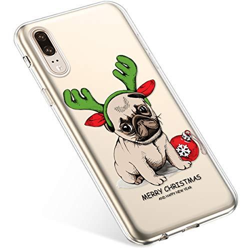 Uposao Kompatibel mit Handyhülle Huawei P20 Schutzhülle Transparent Silikon Schutzhülle Handytasche Crystal Clear Durchsichtige Hülle TPU Cover Weich TPU Bumper Case,Weihnachten Haustier
