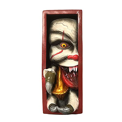 vokiie Peeping On The Bookshelf Monster Personalized bookends Funny, Scary Monster Clown Bookends, Prank Art Decorations Horror Art Decorations Peeping Art Decorations