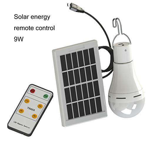 Outdoor Tragbare Solar Glühbirne 9 Watt 25Led Solar Panel USB Wiederaufladbare Camping Notbeleuchtung mit Fernbedienung 5 Modus Lampe Lampe für Outdoor Wandern Angeln Camping Zelt( remote control)