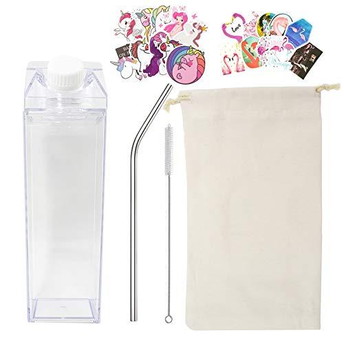 LLGLEU Transparent Milchkarton Trinkflasche, 500Ml Plastikmilchbox Wasserflasche Tragbare Milchflaschen mit Tasche, Trinkhalm, Reinigungsbürste, Einhorn Flamingo Aufkleber