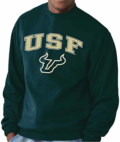 Campus Colors NCAA Adult Arch & Logo Gameday Crewneck Sweatshirt (USF Bulls - Green, X-Large)