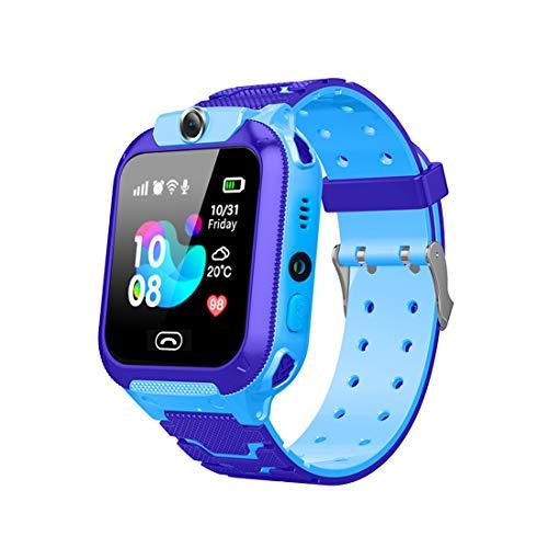 Happy Cherry - Orologio per bambini Telefono Ragazza Ragazzo Smartwatch Bambini Orologi intelligenti multifunzione GPS Touch SOS Camera Alarm Blu
