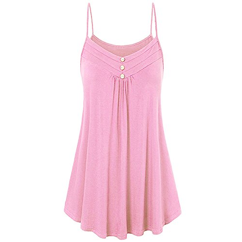 Womens Summer Sexy Loose Sleeveless V Neck Camisole KIKOY Casual Solid Tank Tops Pink