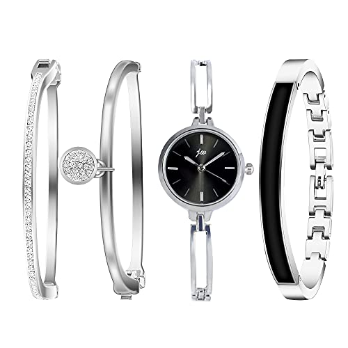 Clastyle Conjunto Reloj Pulsera Mujer Plata Relojes Mujeres Minimalista Elegante con 3 Brazaletes Diamante de Imitación, Negro
